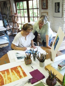 Janet Stahl-Fraser in the studio with Maureen