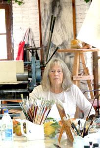 Maureen Booth in her printmaking studio