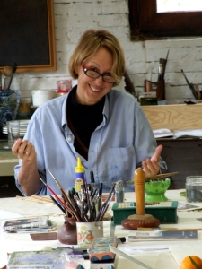 Mary Marjerrison working in Maureen's studio