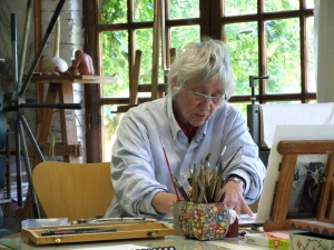 Barbara Milman working in my studio