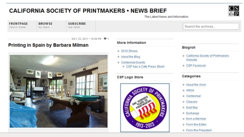 California Society of Printmakers Newsletter--Homepage