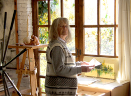 Maureen Booth in her printmaking studio