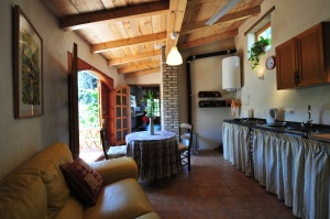 El Gallinero, looking through the kitchen/sitting room past the French doors to the terrace into the bedroom/workroom.