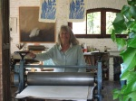 Maureen Booth in her Granada printmaking studio