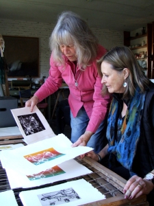 Lorna and Maureen review Lorna's production of solar-plate prints.