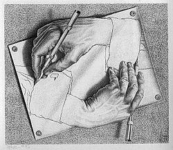 """Escher """"Drawing Hands"""""""