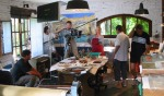 "Shooting Juan Carlos Romera's short film, ""Bive,"" in Maureen Booth's studio in Granada"