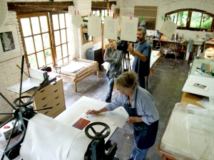 Shooting the Printmaking Master Classes videos in Maureen's studio