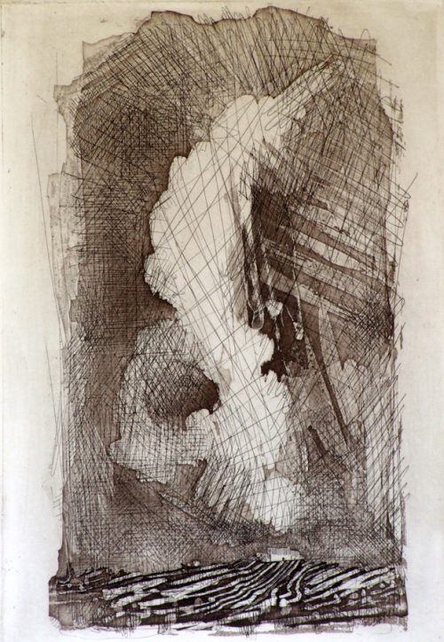 """Tormenta,"" an etching by Maureen Booth"
