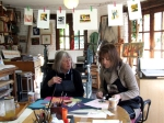 Karen Riley and Maureen in the studio