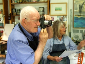 Boston printmaker, Dave McDonnell, in Maureen Booth's printmaking studio in Granada