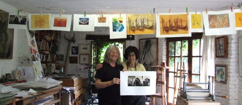 Jini and Maureen with some of the work Jini produced in September 2012